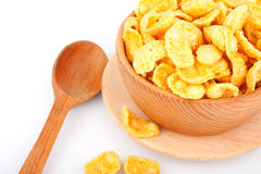 Cornflakes in bowl and spoon Stock Photo