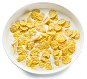 Cornflakes in the bowl on white background. Royalty Free Stock Photography