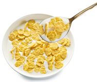 Cornflakes in the bowl on white background. Stock Photography