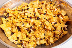 Cornflakes and caramel. Royalty Free Stock Images