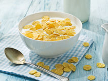 Cornflakes cereal and milk. Royalty Free Stock Image