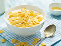 Cornflakes cereal and milk. Royalty Free Stock Photography