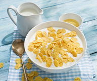 Cornflakes cereal and milk. Stock Photography