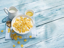 Cornflakes cereal and milk. Stock Photos