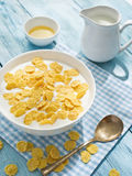 Cornflakes cereal and milk. Stock Photo