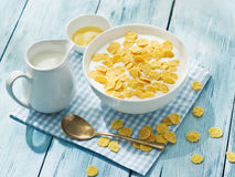Cornflakes cereal and milk. Stock Image