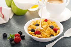 Cornflakes cereals with berries Stock Image
