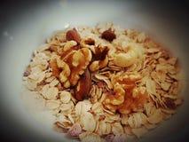 Cornflakes cereals milk breakfast bowl. Whitebowl healthy eating food fresh vegetarian Stock Images