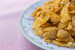 Cornflakes. Closeup on table, sweey food royalty free stock photo