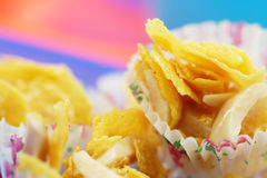 Cornflakes cookies with almond strips Royalty Free Stock Images