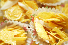 Cornflakes cookies with almond strips Royalty Free Stock Image