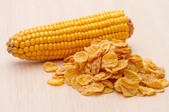 Cornflakes and corn on the cob Royalty Free Stock Photography
