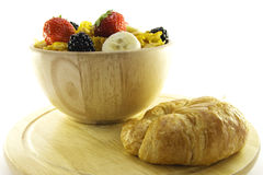 Cornflakes and Croissant Stock Image