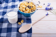 Cornflakes, cup with fresh milk , flower and spoon Royalty Free Stock Image