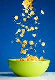 Cornflakes die aan de kom voor ontbijt vallen Royalty-vrije Stock Afbeelding