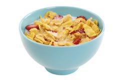 Cornflakes en aardbei Stock Foto's