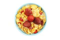 Cornflakes en aardbei Royalty-vrije Stock Foto