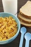 Cornflakes en melk Stock Foto