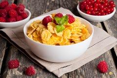 Cornflakes et différentes baies Images libres de droits