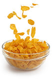 Cornflakes falling into a glass bowl Royalty Free Stock Images