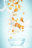 The cornflakes falling with milk stream Stock Photography