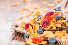 Cornflakes with fresh Berries. (Strawberries, Raspberries and Blueberries Stock Photography