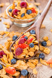 Cornflakes with fresh Berries. (Strawberries, Raspberries and Blueberries Stock Images