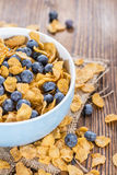 Cornflakes and fresh Blueberries. Cornflakes with some fresh Blueberries (close-up shot Royalty Free Stock Photo