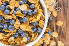 Cornflakes and fresh Blueberries. Cornflakes with some fresh Blueberries (close-up shot Royalty Free Stock Image