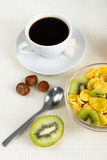 Cornflakes with fresh fruit Stock Images