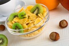 Cornflakes with fresh fruit Stock Photography