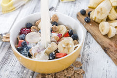 Cornflakes with fresh Fruits and Milk Stock Image