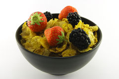 Cornflakes and Fruit in a Bowl Royalty Free Stock Photography