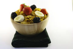 Cornflakes and Fruit in a Bowl with Napkin Stock Images