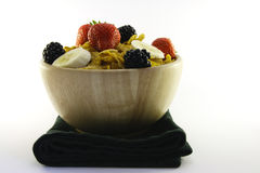 Cornflakes and Fruit in a Bowl with Napkin Stock Image