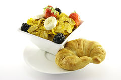 Cornflakes and Fruit with Croissant Stock Photo