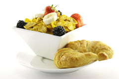 Cornflakes and Fruit with Croissant Royalty Free Stock Image