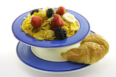 Cornflakes and Fruit with Croissant Stock Image