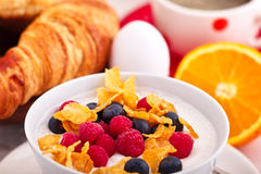 Cornflakes and fruit curd Stock Photos