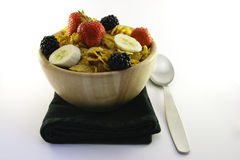 Cornflakes and Fruit with Napkin and Spoon Royalty Free Stock Photography