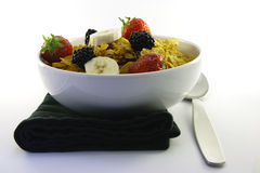 Cornflakes and Fruit with Napkin and Spoon Stock Photos
