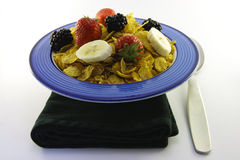 Cornflakes and Fruit with Napkin and Spoon Stock Photography