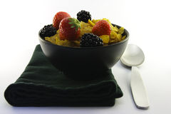 Cornflakes and Fruit with Napkin and Spoon Royalty Free Stock Image