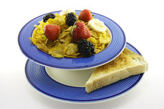 Cornflakes and Fruit with Toast Stock Photography