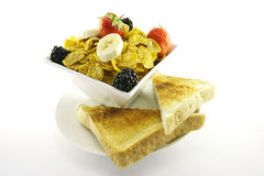 Cornflakes and Fruit with Toast Stock Image