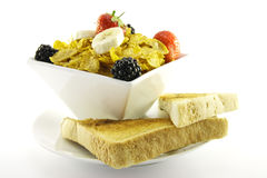 Cornflakes and Fruit with Toast Stock Photos
