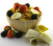 Cornflakes and Fruit in a Wooden Bowl Stock Images