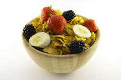 Cornflakes and Fruit in a Wooden Bowl Royalty Free Stock Image
