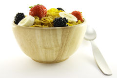 Cornflakes and Fruit in a Wooden Bowl with Spoon Stock Images