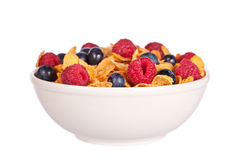 Cornflakes with fruits Royalty Free Stock Images